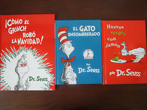 Dr. Seuss Lot of 3 Books in Spanish Espanol ~ Cat In The Hat, Green Eggs, Grinch