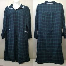 Blair 3XL Night Gown Green Plaid Snap Up Flannel Lace Trim Pajamas Lounge Dress