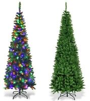Slim Christmas Tree Artificial Pencil Xmas With Stand National Fir Tree Pre-Lit