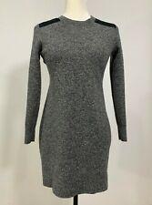 GAP Merino Shoulder Patch Sweater Dress Medium Black Gray $80