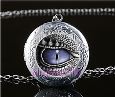 Dragon Eye Photo Glass Tibet Silver Chain Locket Pendant Necklace#T3