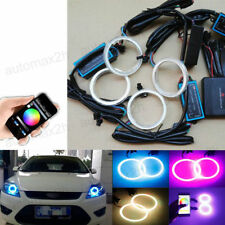 4x 70MM RGB LED COB Angel Eye Lights DRL Halo Ring Headlight Kit Phone Control