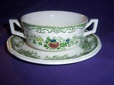 green transferware BALMORAL KENSINGTON STAFFORDSHIRE  cream soup cup bowl  plate