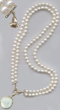 2 Row7mm.PEARLS 14kBars x2+14Diam.NECKLACE+Remove.14k Clasp 4 Chine.Pearl Pendts
