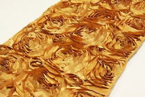 """10 Gold Rosette Satin Table Runners 12""""x108"""" Ribbon Rose Wedding Made in USA"""