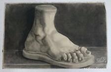 Dibujo de un pie de una escultura clásica del autor Alberto Duce Vaquero.Pintado