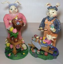 Fabric Mache Bunny Couple Beautiful Detailed Mr & Mrs Easter Bunny Handpainted