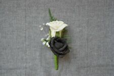 Corsage buttonhole, double rose for groomsman, wedding guest, prom (C2)
