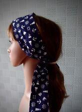 Navy blue nautical hair scarf neck tie hair scarf ships anchor sailing