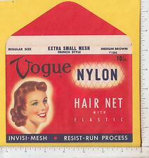 9639 Vogue Hair Net w/ envelope c 1948 cosmetics Glemby Co. NYC woman's burden