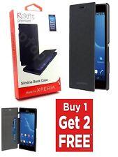 3 x Genuine Roxfit Ultra Slim Flip Book Case Card Holder For Xperia M2 Aqua M2