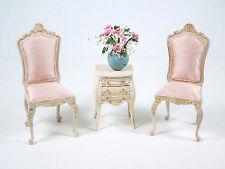 VTG Lot Miniature Dollhouse Upholstered Side Chair & 3 Drawer Table Furniture