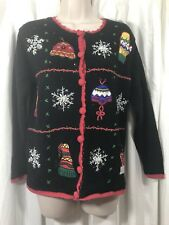 Ugly XMAS Sweater Cardigan Sequins Beaded Appliqué Cherokee Size S