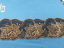 5Cm Brown Mesh Flowers Embroidered Lace trim for Fabric Selling by Meter Sewing
