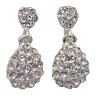 Silver Diamante Dangle Drop Clip On Earrings Crystal Womens Non Pierced Fake 1#