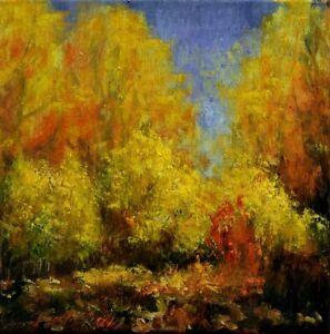 "Jesień"" Original Oil Painting 30x30cm signed Garncarek Al,,"