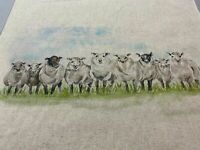 Inline  Sheep Water Colour Linen/ Cotton Fabric Cushion Panel  Craft