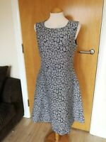 Ladies PHASE EIGHT Dress Size 12 Grey Floral Smart Party Day Wedding