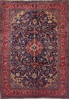 Antique Navy Blue Floral Sarouk Oriental Area Rug Wool Hand-Knotted 7x10 Carpet