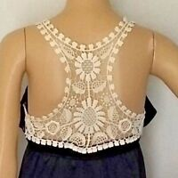Voom by Joy Han Dress Womens 100% Silk Black Size XS White Crochet Made in USA