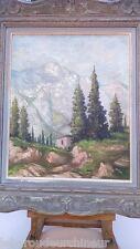 Peinture paysage montagne signée. Mountain landscape painting signed