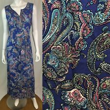 $168 Talbots Women's 8 Purple Blue Paisley Tank Pleated Maxi Shift Long Dress M