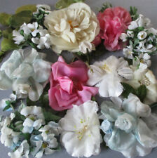 Large Lot Vintage Shabby Millinery Flowers Pink Cream Blue Silk Roses w Leaves