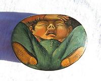 STUNNING ANTIQUE 19th cen PAPIER MACHE SNUFF BOX ''  CHILD ''