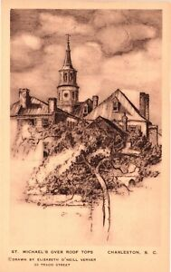 Vintage Postcard - St Michael's Over Roof Tops Drawing Charleston SC #5055