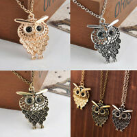 Fashion Women Bronze Owl Pendant Retro Long Chain Sweater Necklace Jewelry Gift