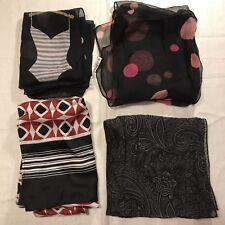 4 Vintage Scarves Black Pattern Beach Bikini Paisley Pink Dot Scarf Lot Oblong