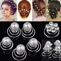 Chic 12X Bridal Wedding Prom Crystal Pearl Flower Hair pins Swirl Spiral Twist
