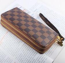 Hot selling women Brown leather wallets fashion zipper purse ladies handbag @