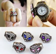 Fashion Classic Vintage Fox Ring Quartz Watch Women Men Adjustable - 1x @ Random