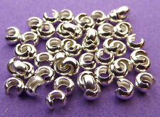 3mm 925 Sterling Silver Crimping, Knot and Crimp Covers 25pcs