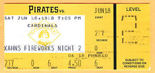 BOB HORNER'S LAST MLB GAME! 6/18/88 PIRATES/CARDINALS TICKET STUB-SINGLE & 1 RBI