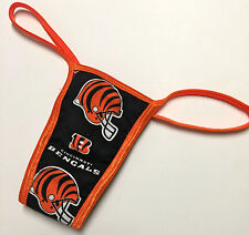 NFL CINCINNATI BENGALS PANTY/THONG/ ORANGE TRIM LINED SMALL/MED. 34-36 INCH HIP