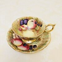 Aynsley Signed Fruit Orchard Teacup And Saucer N. Brunt and D. Jones