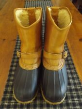 LL BEAN MEN'S SIZE 8 LEATHER/ RUBBER WINTER BOOTS/ HUNTING SHOE  *FLEECE LINED*