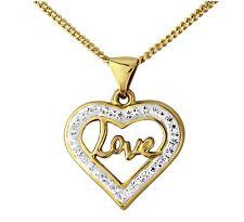 "9ct Yellow Gold Love CZ Gem Set Pendant + 18"" Necklace + gift bag"