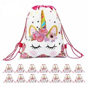 24 Pack Unicorn Drawstring Bag for Gift Bag for Kids Birthday Party Supplies