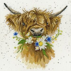 Bothy Threads ~ Counted Cross Stitch Kit ~ Daisy Coo ~ Highland Cow ~ XHD42