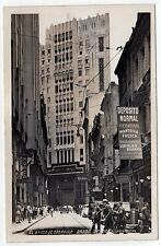 SAO PAULO BRAZIL Brasil RPPC Real Photo Postcard BANCO Bank DOWNTOWN Center