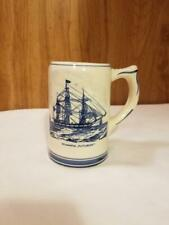 Handpainted Delft Blue Beer Mug Kutusoff Whale Ship & Sperm Whale Capture