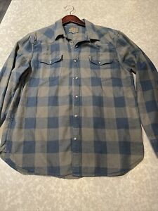 Lucky Brand Mens Large Green Olive Blue Navy Plaid Flannel Button Down Shirt LS