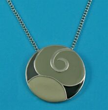 Grey and black enamelled Disc necklace