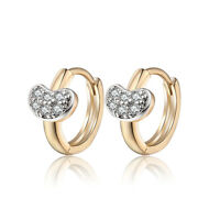 18 k Gold Plated Jewellery Small Baby Girls Heart Hoops First Earrings E965