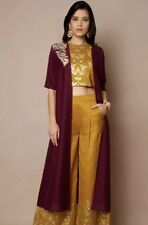 Faballey Indian Pakistani Bridal Wedding Fusion Wear Party Mustard 4 Pc Outfit