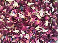 50 Guests Natural Biodegradable, Dried Wedding Confetti Red Rose Mix Petals