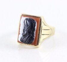 Men's  Roman Soldier Ring Cameo Ring 10k Gold Size 9 1/2 Art Deco Ring